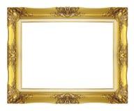 Marco de oro antiguo aislado en el fondo blanco fotografía de archivo
