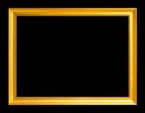 Marco de oro antiguo aislado en fondo negro Foto de archivo