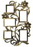 Marco de oro antiguo de la foto con los elementos del ornamento forjado floral Fije 5 cinco marcos Aislado en el fondo blanco Imagen de archivo libre de regalías