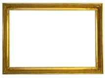 Marco de oro antiguo decorativo aislado en blanco fotografía de archivo libre de regalías