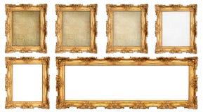 Marco de oro con diversa lona agrietada vacía Imagen de archivo