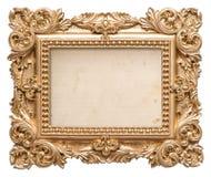 Marco de oro con la lona sucia Objeto del Barroco del vintage Imagen de archivo