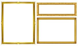 Marco de oro de la colección aislado en el fondo blanco, p que acorta Imagen de archivo libre de regalías