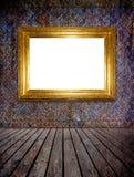 Marco de oro de la foto (camino de recortes) Foto de archivo