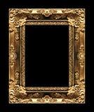 Marco de oro de la imagen antigua aislado en el fondo negro, clipp Fotografía de archivo