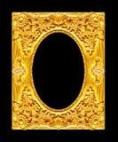 Marco de oro de la imagen antigua aislado en el fondo negro, clipp Imagen de archivo libre de regalías