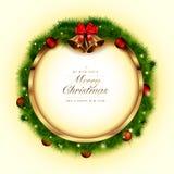 Marco de oro de la Navidad Imágenes de archivo libres de regalías
