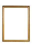 Marco de oro decorativo aislado en blanco fotos de archivo