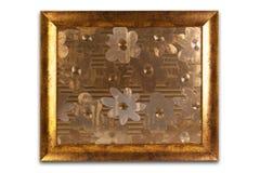 Marco de oro decorativo aislado en blanco Interior vacío Imagenes de archivo