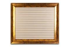 Marco de oro decorativo aislado en blanco Interior vacío Fotografía de archivo