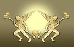 Marco de oro del corazón del ángel del art déco stock de ilustración