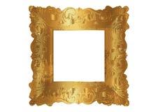 Marco de oro del cuadrado del vintage viejo, fondo aislado o blanco del vector Frontera realista de lujo de la hoja de oro, marco libre illustration