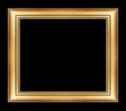 Marco de oro del vintage con el espacio en blanco, con la trayectoria de recortes, en el bl Imágenes de archivo libres de regalías