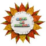 Marco de oro del vintage de las hojas de otoño de nuevo a concepto de la escuela Imágenes de archivo libres de regalías