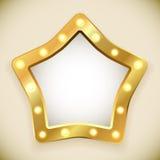 Marco de oro en blanco de la estrella Foto de archivo