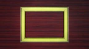 Marco de oro en el revestimiento de madera Foto de archivo libre de regalías