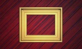Marco de oro en el revestimiento de madera Fotografía de archivo