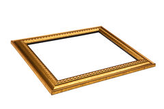 Marco de oro fino con el espacio en blanco.  Opinión de ángulo bajo. Aislado encendido Imagenes de archivo