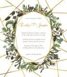 Marco de oro geométrico del vector de la acuarela del diseño en un fondo blanco con las hojas del helecho del bosque, del boj y d libre illustration
