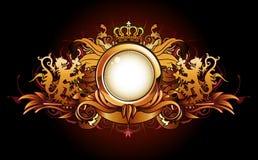 Marco de oro heráldico stock de ilustración