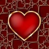 Marco de oro precioso del corazón con el corazón del rojo 3d Imagen de archivo