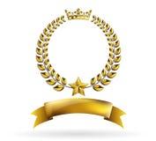 Marco de oro redondo del premio de la guirnalda del laurel del vector en el fondo blanco stock de ilustración