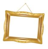 Marco de oro retro aislado Imagen de archivo libre de regalías