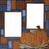 Marco de paginación del libro de recuerdos de la calabaza de Víspera de Todos los Santos Imagen de archivo libre de regalías