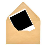 Marco de papel del sobre y de la polaroid Fotos de archivo