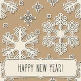 Marco de papel de los copos de nieve y saludos del Año Nuevo Imágenes de archivo libres de regalías