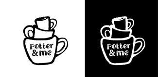 Marco de pila con las tazas Logotipo negro de la tinta El rastro de las tazas Imagen de archivo