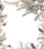 Marco de plata de la Navidad con las chucherías rosadas Imagen de archivo