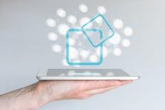 Marco de software y de soporte físico para la computación móvil con los teléfonos y las tabletas elegantes Fotografía de archivo