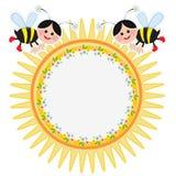 Marco de Suuny con las abejas Imagenes de archivo