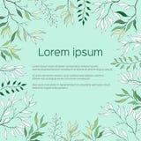 Marco de texto con las hojas del verde y del contorno Contorno Clipart para el uso en diseño Cartel verde de la postal para los s stock de ilustración