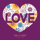Marco de texto oriental colorido del amor de las flores del vector Imagen de archivo
