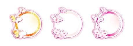 Marco de tres círculos con las mariposas Imágenes de archivo libres de regalías