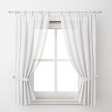 Marco de ventana blanco del vintage con la cortina aislada en el fondo blanco Imagen de archivo libre de regalías