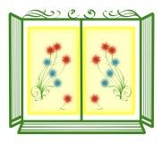 Marco de ventana con las flores Foto de archivo