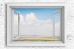 marco de ventana 3d con el fondo del cielo azul Fotografía de archivo libre de regalías