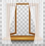 Marco de ventana de madera con las cortinas en un fondo transparente Imágenes de archivo libres de regalías