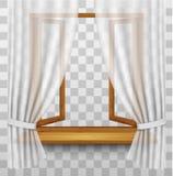Marco de ventana de madera con las cortinas en un fondo transparente Fotos de archivo libres de regalías