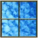 Marco de ventana de oro Imágenes de archivo libres de regalías
