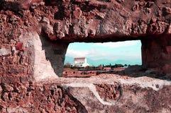 Marco de ventana de Pompeya Imágenes de archivo libres de regalías