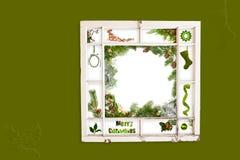 Marco de ventana del collage de la Navidad Foto de archivo libre de regalías