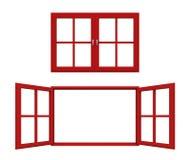 Marco de ventana rojo Imágenes de archivo libres de regalías