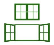 Marco de ventana verde oscuro Fotografía de archivo