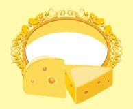 Marco decorativo con el pedazo de queso Fotos de archivo