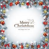 Marco decorativo de la Navidad en azul Imagen de archivo libre de regalías