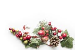 Marco decorativo de la Navidad sobre el fondo blanco Fotografía de archivo libre de regalías
